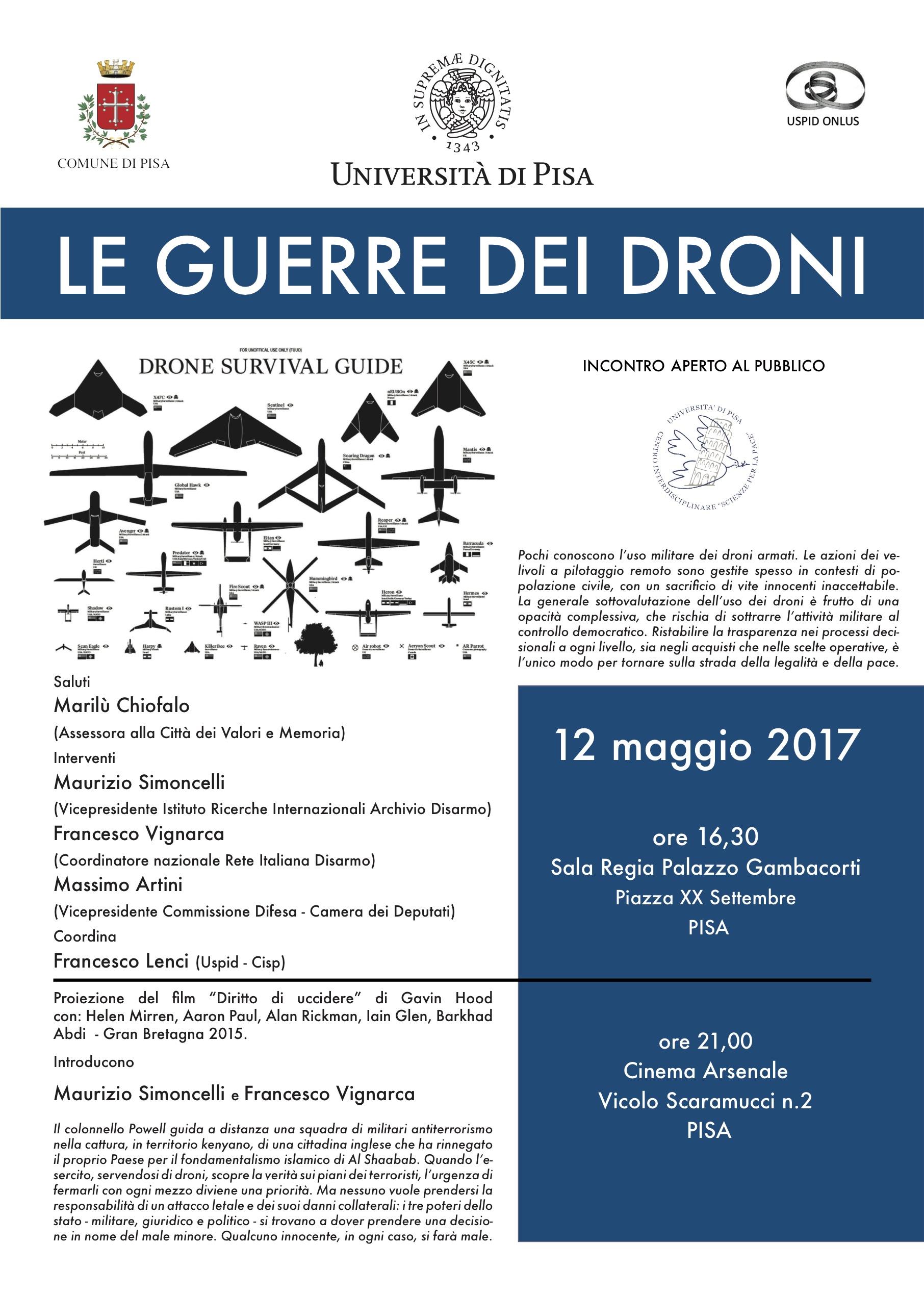 """""""Le guerre dei droni"""" - Pisa 12 maggio 2017"""